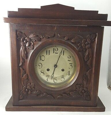 Vintage OAK PERIVALE MANTLE CLOCK Original Pendulum & Key WORKING English Chimes