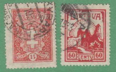 Lithuania #280 #282 used scarce wmk 238 letters 1933-34 cv $14