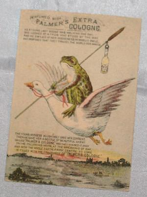 Antique IOWA 1800's Victorian Trade Card Frog Flying Goose Palmer's Cologne