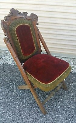 Antique 1800s 1870 E.W Vails Victorian Carved Wood Folding Cushioned Arm Chair