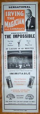 IRVING THE MAGICIAN AND COMPANY Magic Poster Chicago - Presenting The Impossible