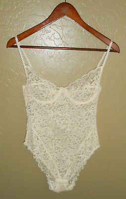 Vtg 60s GIORGIO ARMANI Lingerie Body Suit IVORY LACE Sheer ITALY Sleepwear : SM