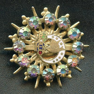 Vintage Daughters Of Rebekah Enameled Pin With 12 Rhinestones 30 mm Diameter