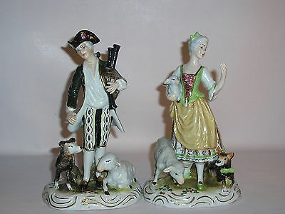"""Figurines By Wilhelm Rittirsch """"Male with bagpipes and Female with Dog Sheep"""""""