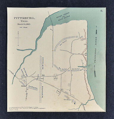 Civil War Map - Pittsburg Landing - Battle of Shiloh Tennessee Sherman McDowell