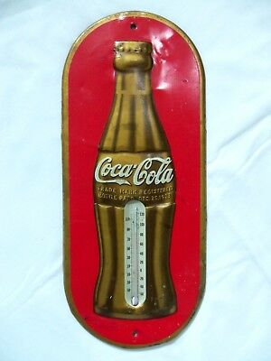 Vintage 1936 Coca Cola Thermometer Sign Tin Metal Gold Coke Bottle Cool Old