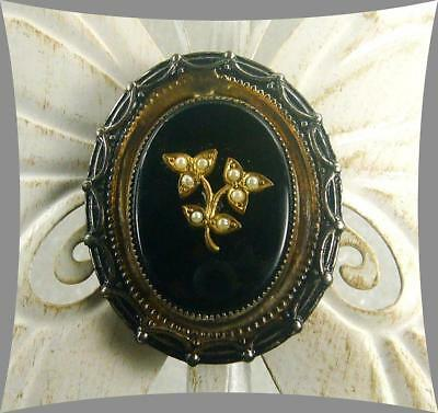 Antique Mourning Dress Clip French Jet Seed Pearls Scalloped Frame - Ub617