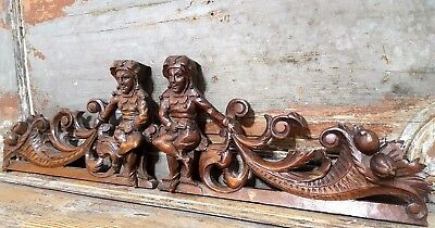Carved Wood Pediment Matched Pair Antique French Gothic Jester Carving Crest 2