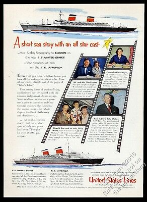 1954 Ben Hogan photo SS S.S. United States ship US Lines vintage print ad