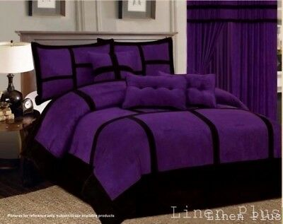 Comforter Curtain Set Patchwork Purple Black Micro Suede Queen Size