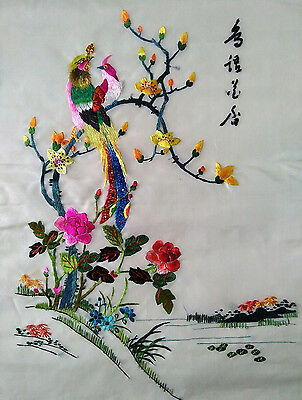 Large Vintage Chinese Silk Embroidery Birds Flowers