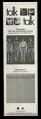 1979 the Talking Heads photo Take Me To the River song release vintage print ad