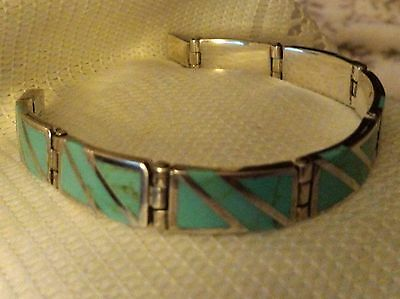 MEXICO 925 Sterling & Turquoise Bracelet,43 grams