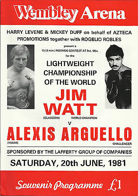 1981 JIM WATT vs ALEXIS ARGUELLO WORLD TITLE PROGRAMME