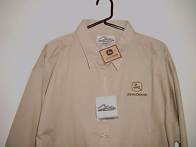 John Deere Logo Tan Women XL Long Sleeve Shirt - New w/ Tags