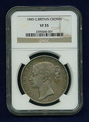 Great Britain  Victoria  1845  1 Crown Silver Coin, Certified By Ngc Vf-35