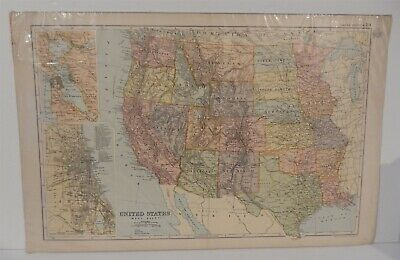 Antique Map of United States Western Sheet Bacons Atlas