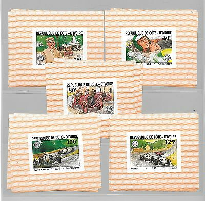 IVORY COAST-Unlisted imperf souvenir sheets of Auto racing cars/Grand Prix) x4