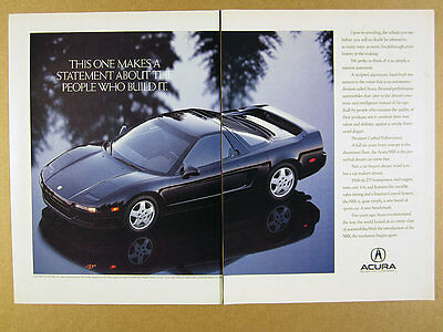 1991 Acura NSX black car color photo vintage print Ad