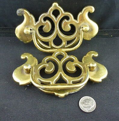 "Chippendale Drawer Pulls, Brass, 3"" Center, Pair"