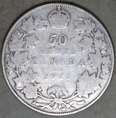 Canada 1911 50 Cents Silver Coin