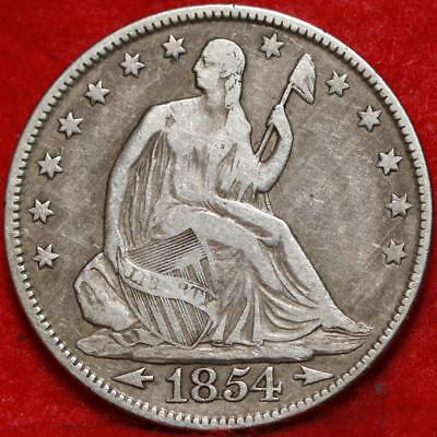 1854 with arrows Philadelphia Mint Silver Seated Liberty Half Dollar Free S/H