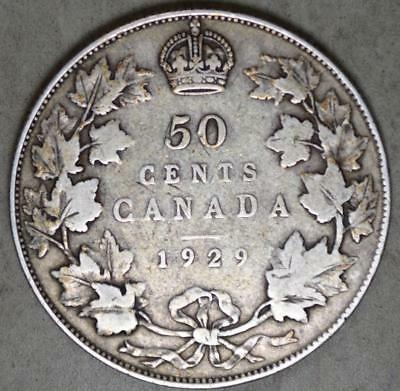 Canada 1929 50 Cents Silver Coin