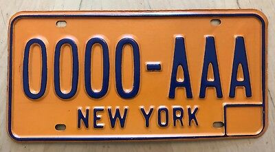 "New York 1974 - 1986  Sample Auto Passenger License Plate "" 0000 Aaa "" Ny 74"