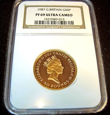 GOLD COIN 1/2 oz 1987 PROOF GREAT BRITAIN BRITANNIA 50 POUND  NGC 69 ULTRA CAMEO