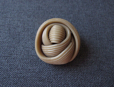 Vintage Beige Celluloid Striped Spaghetti Huge Button