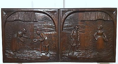 HAND CARVED WOOD PANEL ANTIQUE FRENCH MATCHED PAIR BRITTANY COUPLE CARVING 19 th