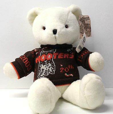 "HOOTERS 20th Anniversary 18"" White Plush Teddy Bear with COA Certificate"