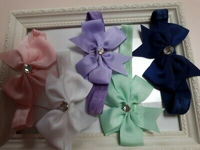 Premature Baby Handmade Headbands Pretty For The Tiny Babe Bows With Stone