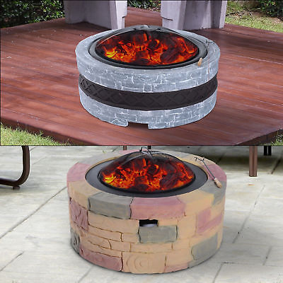 Fire Pit Outdoor Fireplace Round Patio Heater Fibreglass Stone Effect Backyard