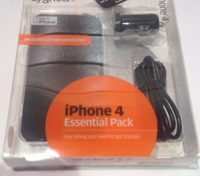 Iphone 4 4S Cygnett Essential Pack Case Screen Protector Car Charger Sync Cable