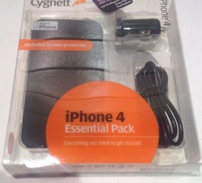 Iphone 4 4S Essential Pack Case Screen Protector  Car Charger + Sync Cable