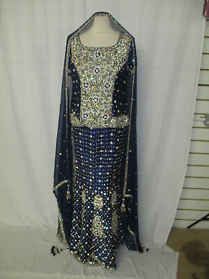Stunning Blue Asian Indian? Bespoke Bridal Lengha Dress Outfit Size 14?