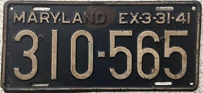 GENUINE 1941 Maryland American USA License Licence Number Plate 310-565