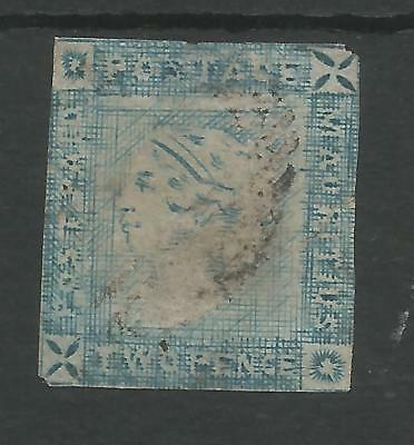 MAURITIUS  SG39 THE 1859  2d BLUE WORN IMPRESSION  USED SPACEFILLER CAT £900