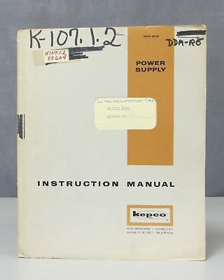 Kepco Voltage Regulated Power Supply Model 1020 Instruction Manual