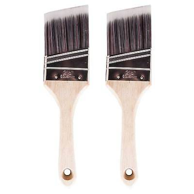 2 x Silverline 63mm Angled Paint Brush Cutting In/Edging Painting & Decorating