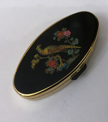Stratton Vintage Black/ Gold Coloured Pheasant Floral Enamel Contact Lens Case
