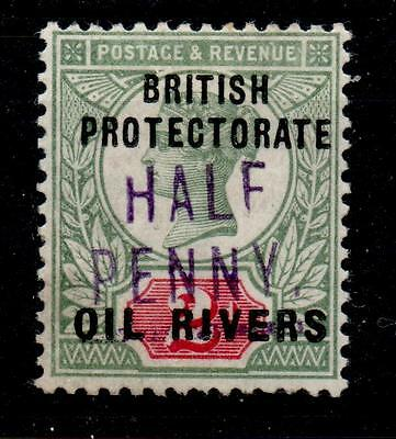 OIL RIVERS SG9 1893 ½d ON GB 2d GREEN & SCARLET MTD MINT