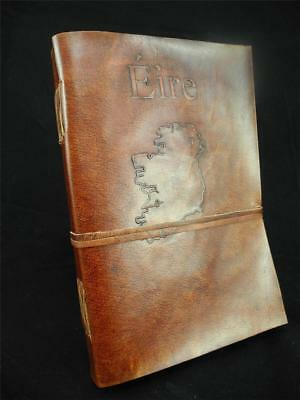 A5 Handmade Leather Journal Sketchbook Diary: - EIRE Map of IRELAND