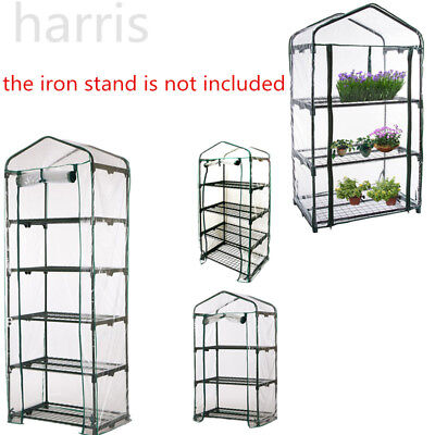 3/4/5Tier Greenhouse Garden Frame PVC Cover RollUp Front Grow Veg Plant Outdoor