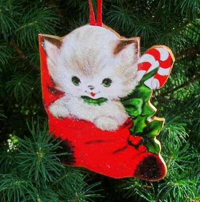 Kitty in Stocking Ornament Christmas Handmade Cat Lover Daughter Gift Candy Cane