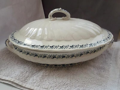 Lidded, Shaped, Oval Minton Tureen With A Blue Floral  Pattern