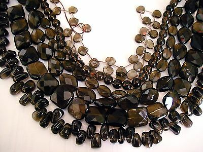 clearance-14-15.5''100%genuine Smokey Quartz round oval gemstone beads(chiped)