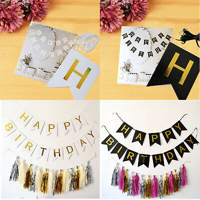 Hot Sale Happy Birthday Bunting Garland Gold Alphabet Party Hanging Banner Décor
