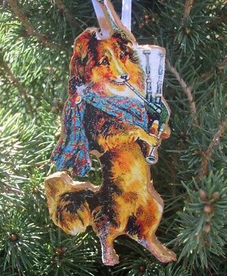 Bagpipe Collie Ornament Christmas Handcrafted Veterinarian Music Teacher Gift